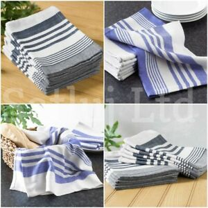 Luxury 100% Cotton Tea Towels Set Cleaning Drying Kitchen Dish Cloths Pack Of 10