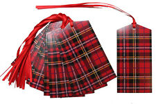 50 x RED TARTAN Gift Tags & Tying Ribbon - Christmas Gift Hamper Basket Tag