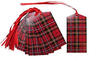 10 x RED TARTAN Gift Tags & Tying Ribbon - Christmas Gift Hamper Basket Tag