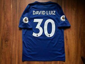 CHELSEA FOOTBALL SHIRT 2017-2018 ORIGINAL JERSEY SIZE L #30 DAVID LUIZ