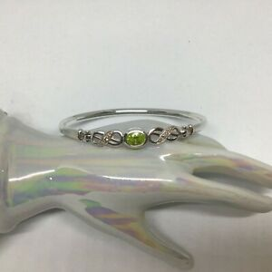 Genuine Sterling Silver BANGLE Bracelet Green & Clear Cubic Zirconia's Gorgeous