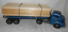 1950s Smith Miller 24 inch Blue Log Lumber Semi Truck Tractor Trailer ORIG Paint
