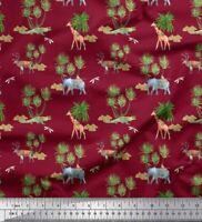 Soimoi Rot Baumwoll-Voile Stoff Tiere & Palme Baum Drucken Nahen-3Pv
