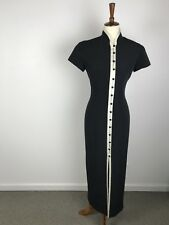 Evan Picone Black Ivory Trim Button Front Lined Dress Sz 6
