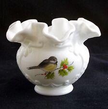 FENTON Double Crimp Art Glass Vase - Hand Painted Bird LOUISE PIPER Gimbel's
