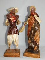 2 SANTONS EN PAPIER MACHE ORIGINE MEXICO HAUT 33 CM