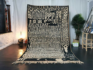 "Boujad Handmade Moroccan Vintage Rug 6'1""x9'5""  Checkered Black White Berber Rug"