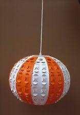 Suspension vintage orange & blanche luminaire BOULE SPACE AGE plastique 70'