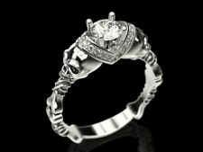 Gothic Skull & Bone Halo Engagement Ring With Certified 0.50ct Moissanite S925