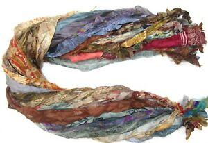 12 yard Unstitched PURE Silk Sari Ribbon Yarn tassel SKEINS DULL LIGHT COLOR
