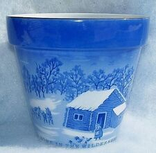 Home In The Wilderness Currier & Ives Planter Pot Winter Scene