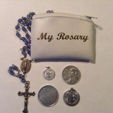 Vintage Rosary with zippered pouch and 4 Plastic Medals/coins