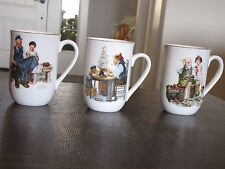Vintage 1982 Norman Rockwell Coffee Cups Mugs Set Of 3 Museum Collection 1986