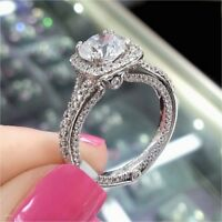 1.92Ct Forever Round Cut Moissanite Diamond Halo Engagement Ring 14K White Gold