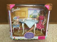 1999 Barbie Doll Tea Time With Her Friends Dining Room Furniture Playset Rare