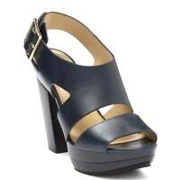 Women MK Michael Kors Carla Platform Sandals Leather Admiral (Midnight Navy)