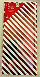 5 Sheets Foiled Christmas Tissue Paper 50 x 70cm Metallic Red Diagonal Stripes.