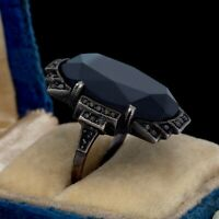 Antique Vintage Deco 935 Sterling Silver HUGE Onyx Marcasite Ring Sz 5.25 5.1g