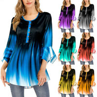 Women's Plus Size Gradient 3/4 Sleeve Button Pullover Shirt Casual Blouse Tops