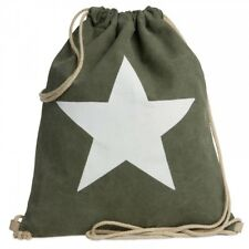 CASPAR TL715 Unisex Drawstring Gym Bag Backpack Star Cotton Canvas MADE IN ITALY