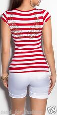 STUNNING STRIPED TOP T-SHIRT TOP WITH RHINESTONED WINGS AND FRONT BUTTONS.