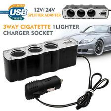 3 Way Dual Car Socket Car Cigarette Lighter Splitter USB Plug Adapter Charger