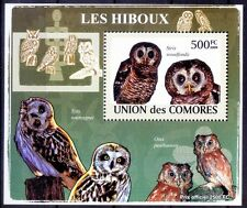 African Wood Owl (Strix woodfordii) Birds of Prey, Comoros 2009 MNH Delux Sheet