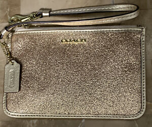 Coach Glittery Metallic CCards Wristlet Bag