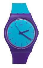 Swatch GV128 Mixed Up Analog Blue Purple Rubber Band Unisex Watch