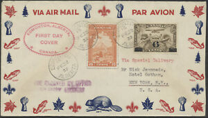 1932 #C3 6c Overprint Airmail FDC, #E3 Special Delivery, Edmonton Alta to NY