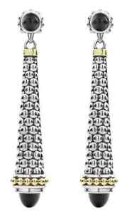 Authentic Lagos Sterling Silver 18K Gold Black Onyx Caviar Long Drop Earrings