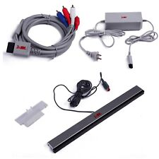 Nintendo Wii AC Power Adapter Component Video Cable Wired Sensor Bar Bundle