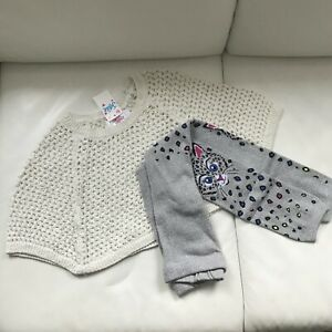 NWT Justice girl Crochet poncho and leggings sz.4- 5