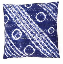 "16"" Ethnic Indian Tie Dye Indigo Blue Pillow Cover Kantha Cushion Cover Throw"