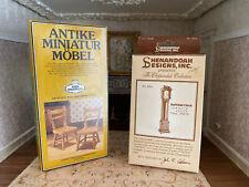 Vintage Dollhouse Germany Miniature Wood Furniture Kits Pair Chairs & Tall Clock