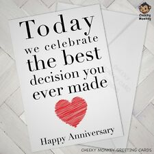 Funny ANNIVERSARY CARD engagement cards wedding wife husband boy girlfriend love
