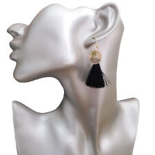 Chandelier Dangle Drop Hook Earrings New Fashion Womens Black Tassels Gold-Tone