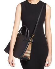 BURBERRY Medium 'Banner House' Check Leather Tote Black/Gold Hardware $1595