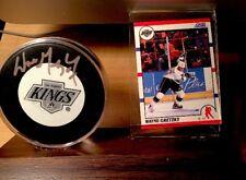 Wayne Gretzky AUTOGRAPHED / SIGNED LA Kings PUCK w/ CARD (1990 score card #1)