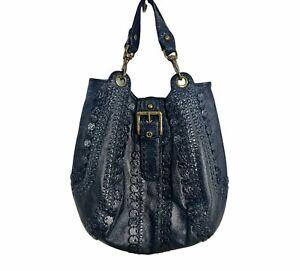 Isabella Fiore Vintage Black Leather Bronze Studded Hobo Moto Shoulder Bag