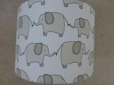 John Lewis~Children Nursery Grey/Cream Elephant Fabric Drum Lampshade ~ 20cm dia