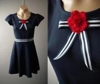 Navy Blue 50s Sailor Rockabilly Fit and Flare Skater 275 mv Dress 1XL 2XL 3XL