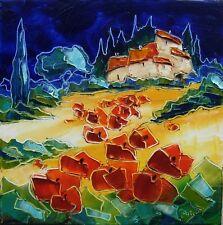 Tableau original de Nolac 30x30cm  le mas aux coquelicots peinture toile huile