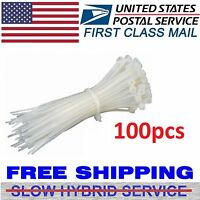 """100 PCS Pack 8"""" inch WHITE Network Cable Cord Wire Tie Strap 40 Lbs Zip Nylon"""