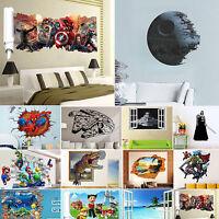 3D Spider Man STAR WARS Wall Sticker Mural Vinyl Art Decal Wallpaper Home Decor