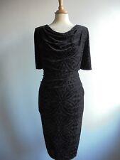 M&S Black Devore Velour Wiggle Dress Evening Cocktail Size 18