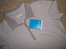 COLUMBIA Rocky Ridge Stripe Polo shirt TAN/WHITE blouse short/sl  Womens  M NEW