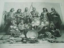 Les Araucaniens au jardin d'acclimataion à Paris Gravure 1883