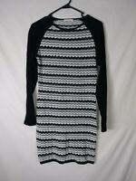 NEW Trina Turk Womens Dress Size S White Black Striped Knee Length 3/4 Sleeve