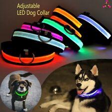 Safety Dog LED Collar Blinking Night Flashing Light Glow Adjustable SAFE PETS